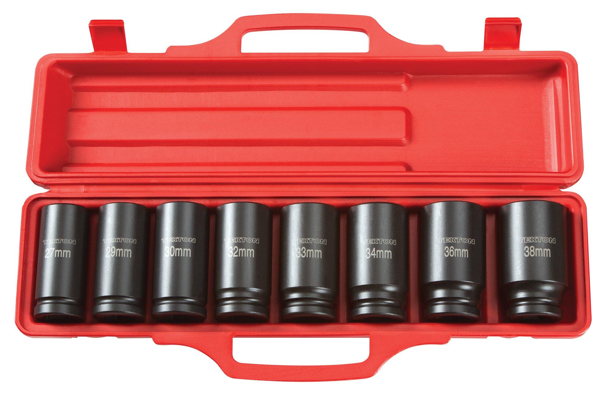 TEKTON 3/4-Inch Drive Deep Impact Socket Set, Metric, Cr-V, 6-Point, 27 mm - 38 mm, 8-Sockets | 4889 by TEKTON