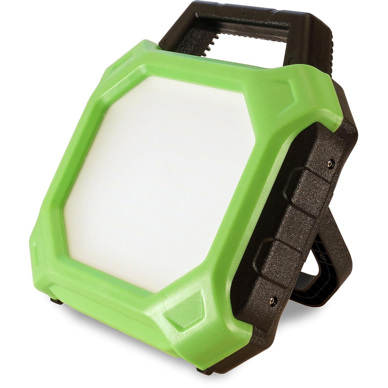 FeinTech LAL00220 Arbeits-Leuchte Akku-Baustrahler LED-Lampe kabellos 20 W 1400 Lumen IP54 IK08 Outdoor, Grü n-schwarz