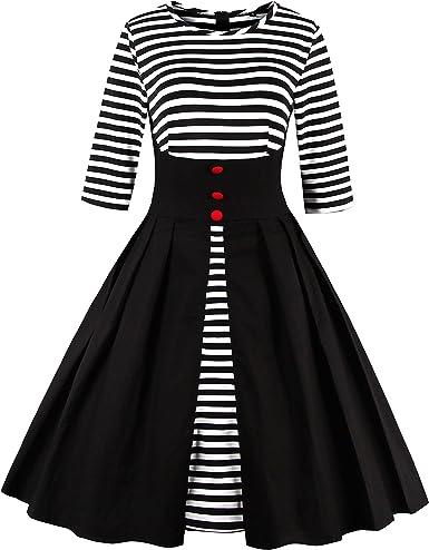 DISSA VM1335 - Vestido para mujer, estilo rockabilly, estilo retro de los años 50, con mangas 3/4 Negro 42: Amazon.es: Ropa y accesorios