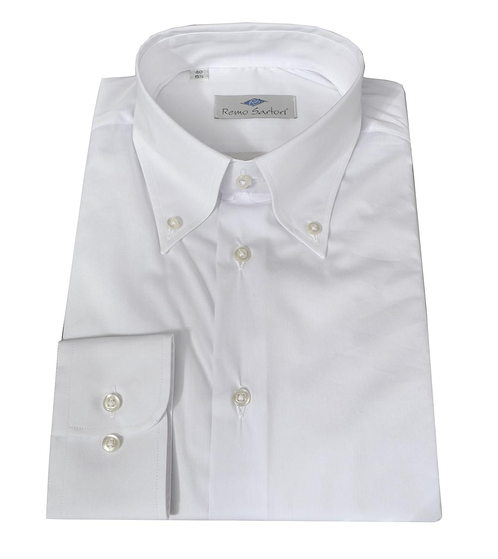 Remo Sartori Camicia Bianca Uomo Button Down in Cotone vestibilit/à Regolare Made in Italy Maniche Lunghe