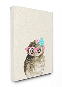 Stupell Industries Woodland Owl with Cat Eye Glasses Oversized Stretched Canvas Wall Art, 24 x 1.5 x 30, Proudly Made in USA