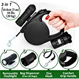 Retractable Dog Leash - Dog Leash Retractable 16 ft Long Tape for Small Medium Breed and Puppy 44 lb - Heavy Duty Retractable Leash Set with LED Light and Bag Dispenser - Best Training Pet Leash