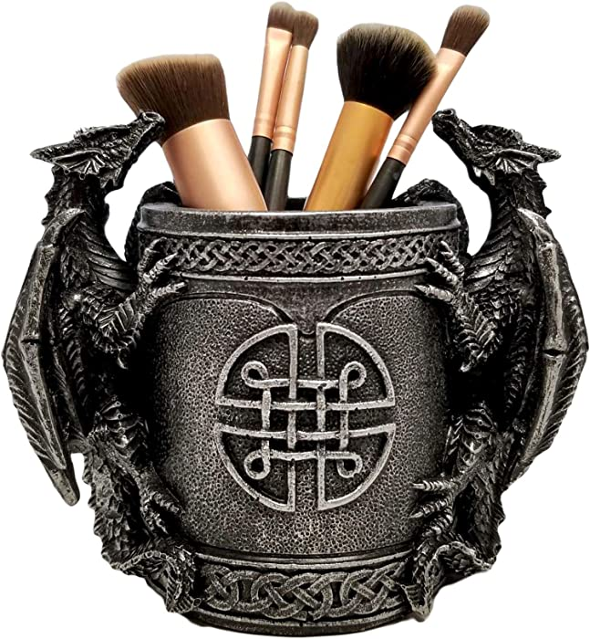 DWK - Literary Beasts - Twin Double Dragon Celtic Gothic Pen Pencil Desk Organizer Makeup Brush Holder Art Supply Caddy Home Office Accent Storage Accessory, Antique Silver Pewter, 6.5-inch