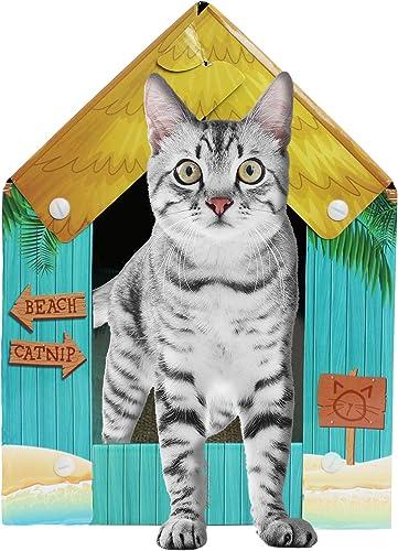 American Cat Club Summer Kitty Cove Cat House Scratcher w Catnip, One Size ACC2032