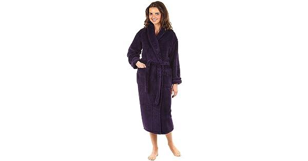 1daf309888 VEAMI Women s Warm Microfiber Fleece Bathrobe-Majestic Violet-Small