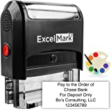 ExcelMark Large Return Address Stamp - Up to 5 Lines - Custom Self Inking Rubber Stamp - Customize Online with Many Font Choices - Large Size