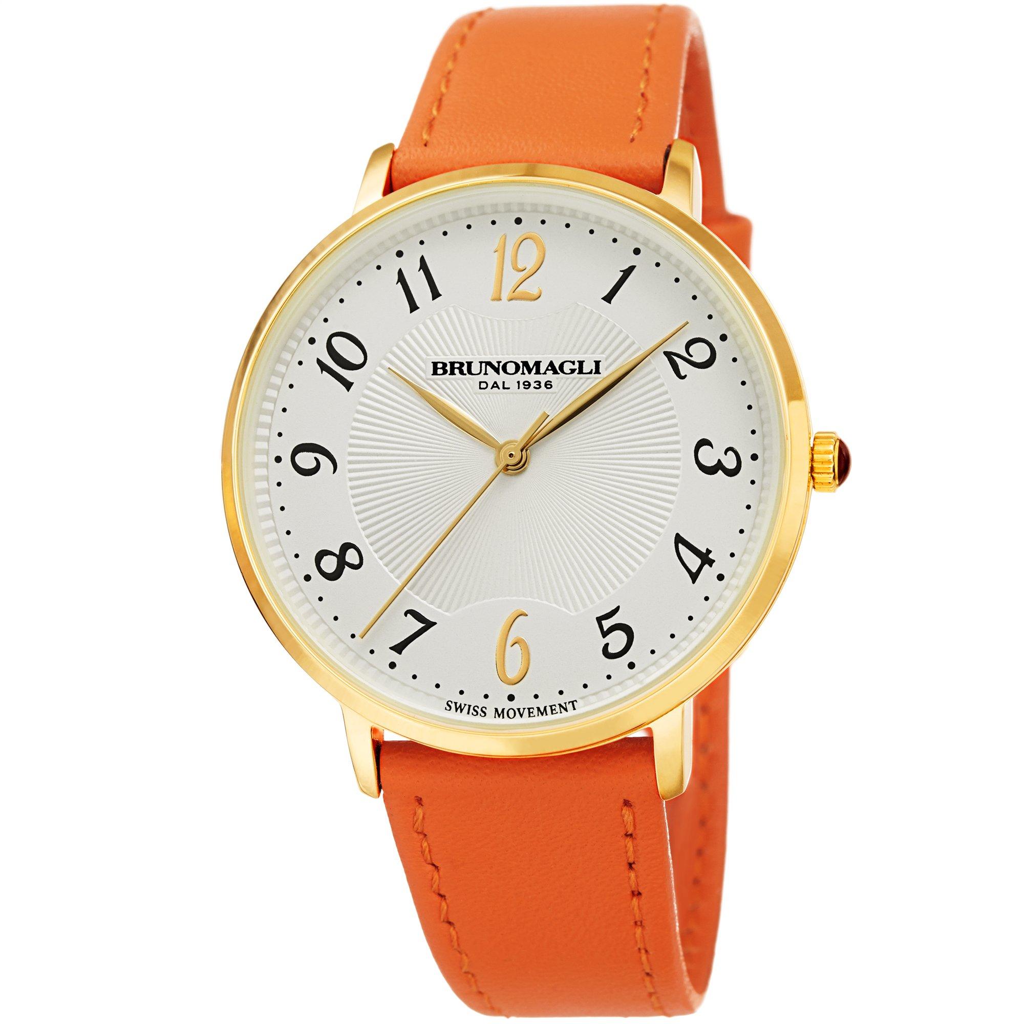 Bruno Magli Women's Roma 1221 Swiss Quartz White Dial Orange Italian Smooth Leather Strap Watch