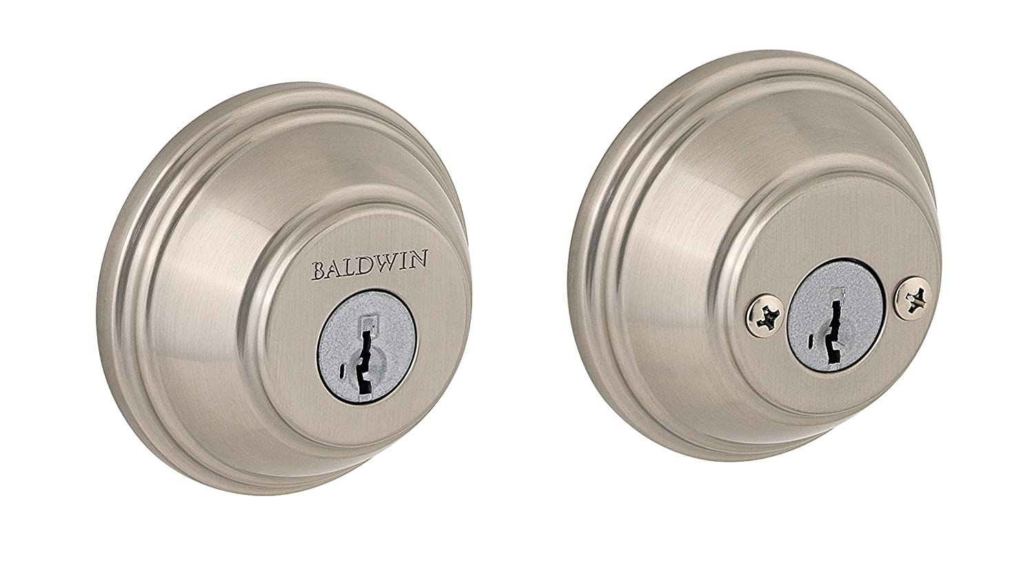 Baldwin Prestige 385 Round Double Cylinder Deadbolt Featuring SmartKey in Satin Nickel