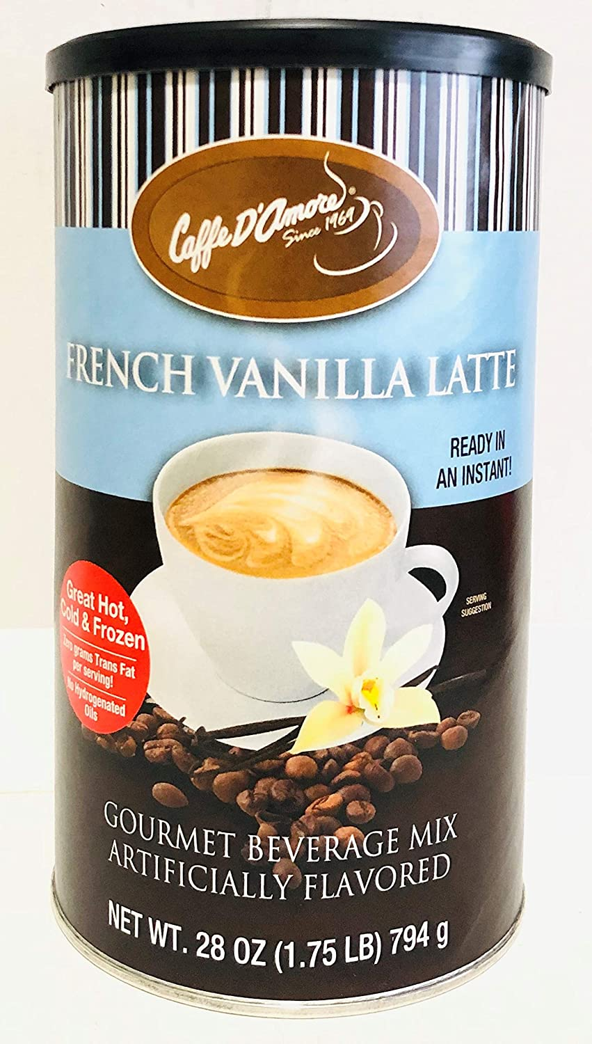 28oz Caffe D'Amore Gourmet Beverage Mix French Vanilla Latte, Pack of 1