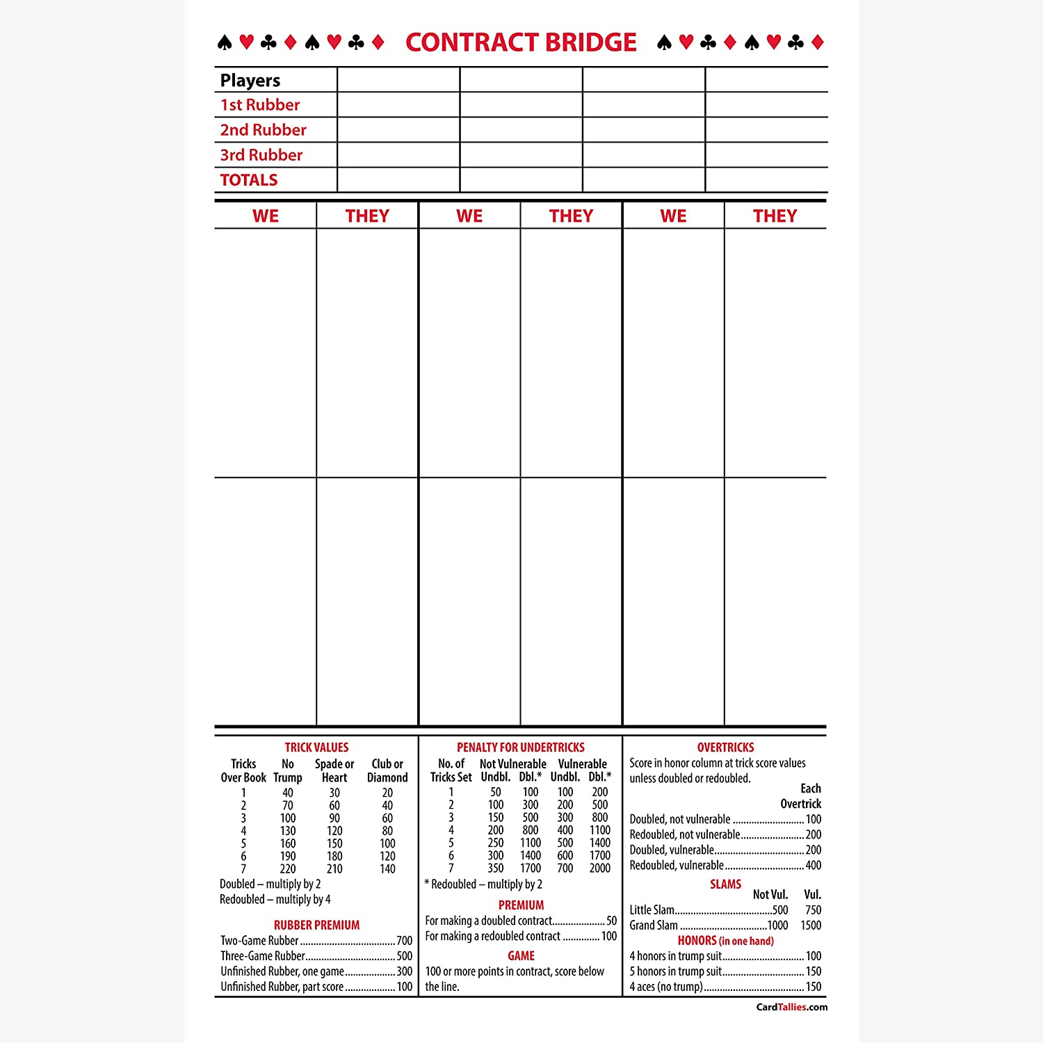 picture regarding Printable Bridge Score Sheets known as CardTallies Agreement Bridge Ranking Pads, 5-Pack, Weighty Dimension [Published within The United states. Up-in direction of-Day Scoring.]