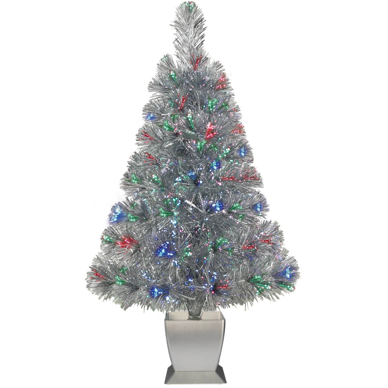 Optic Fiber Christmas Tree: Colorful Fiber Optic Silver Artificial Christmas Tree 32
