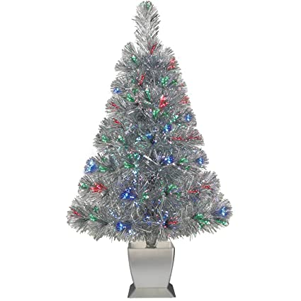 Small Silver Christmas Tree.Colorful Fiber Optic Silver Artificial Christmas Tree 32 Inch With Stand Perfect For Small Spaces Or Tables