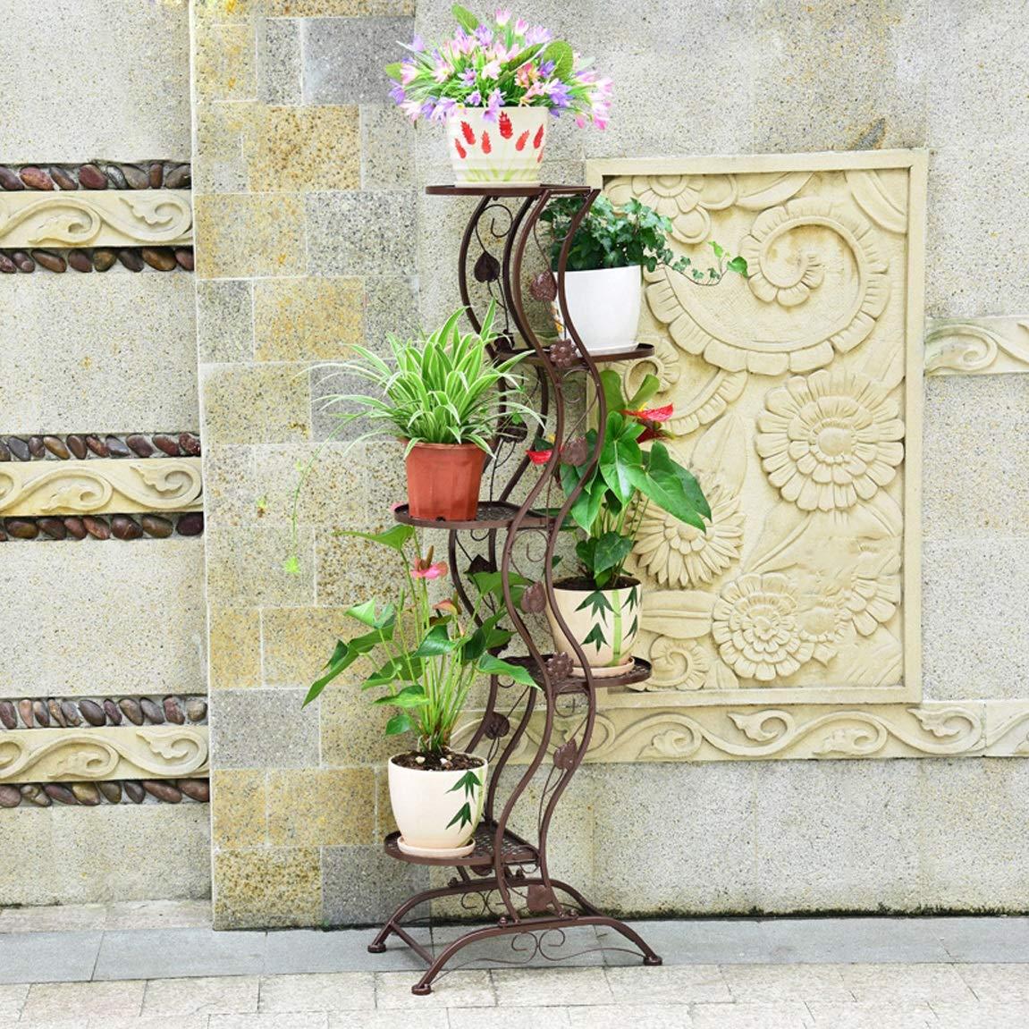 LRW European Flower Rack, Iron Art, Creativity, Green Lace, Chlorophytum, Floor, Multi-Storey Flower Rack Balcony, Fleshy Flower Rack, 5 Layers of Brown.