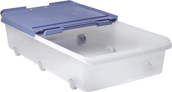 Tatay 1151107 Caja de Almacenamiento Multiusos bajo Cama Ruedas 63 l de Capacidad plástico Polipropileno Libre de bpa Transparente con Tapa, Azul, 45 x 77 x 18 cm: Amazon.es: Hogar
