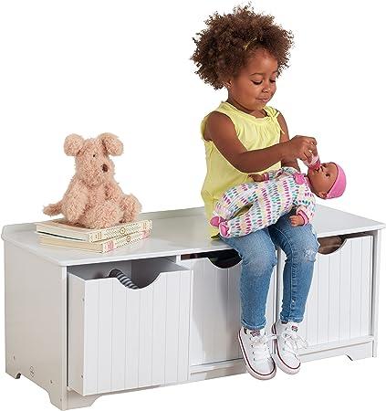 disegni giocattoli e molto di pi/ù Questa panca portaoggetti bianca pu/ò essere usata contemporaneamente come contenitore e come panchina L/'ACCESSORIO IDEALE PER OGNI STANZA I tre ampi contenitori sono ideali per riporvi libri