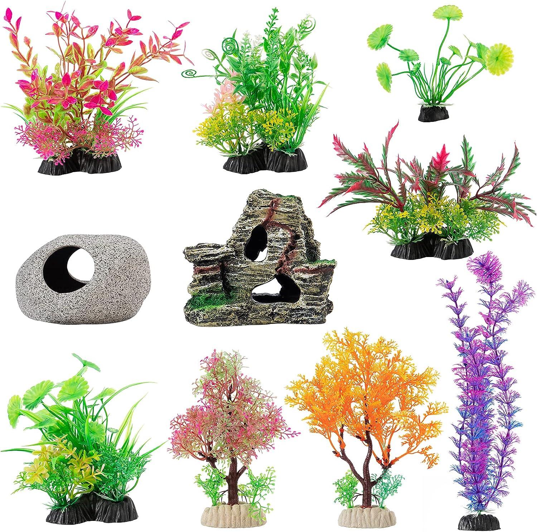 10 Pcs Aquarium Decoration Plants- Artificial Aquatic Plants Fish Tank Plastic Plants and Cave Rockery Set for Household Office Aquarium Simulation