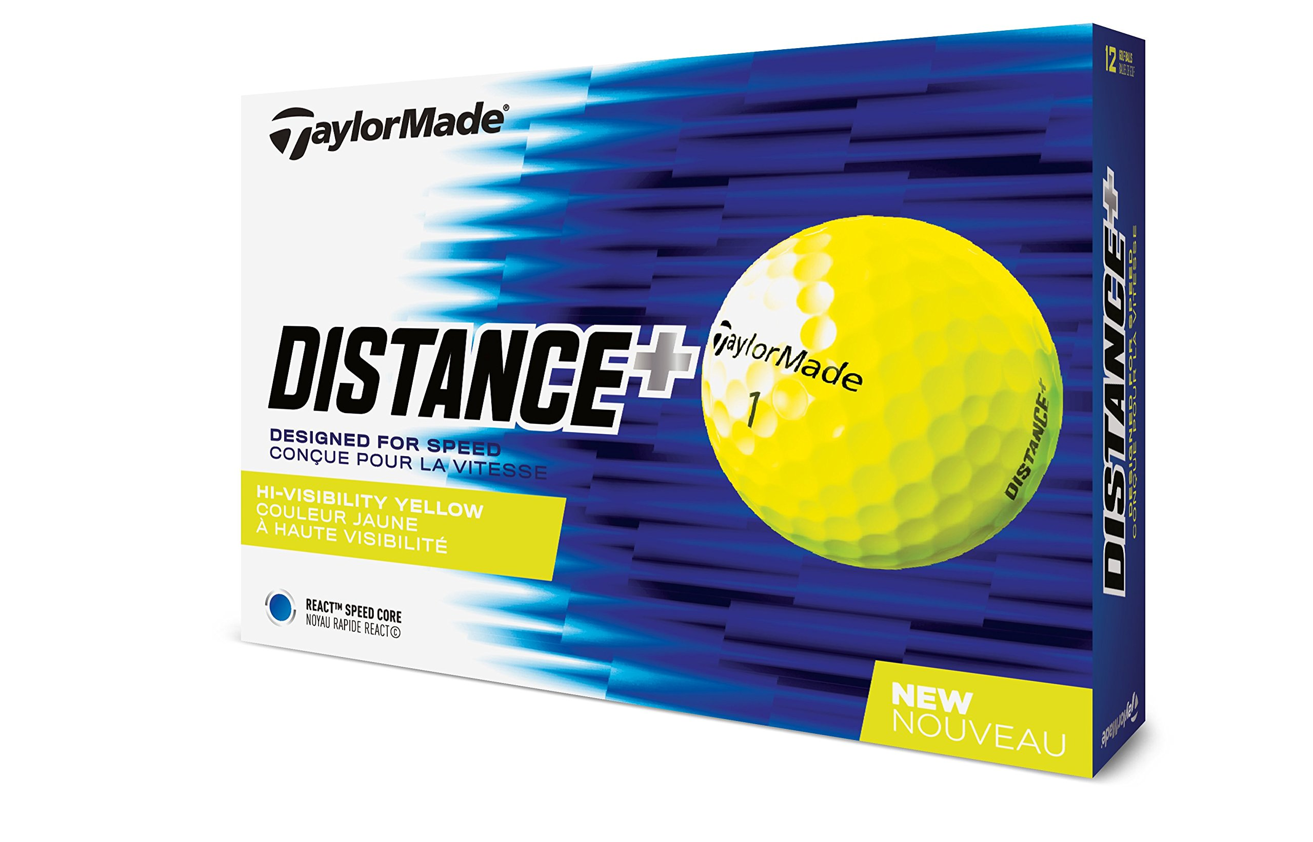 TaylorMade 2018 Distance+ Golf Ball, Yellow (One Dozen) by TaylorMade