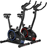 JLL® Home Premium Exercise Bike JF150, 2019 New Version Magnetic Resistance Exercise Bike Fitness Cardio Workout with Adjustable Resistance, 5KG Two-Way Flywheel, Console Display with Tablet Holder, Heart Rate Sensor, Adjustable Handlebars and 7-level Seat Height Adjustments, 12 Months Warranty