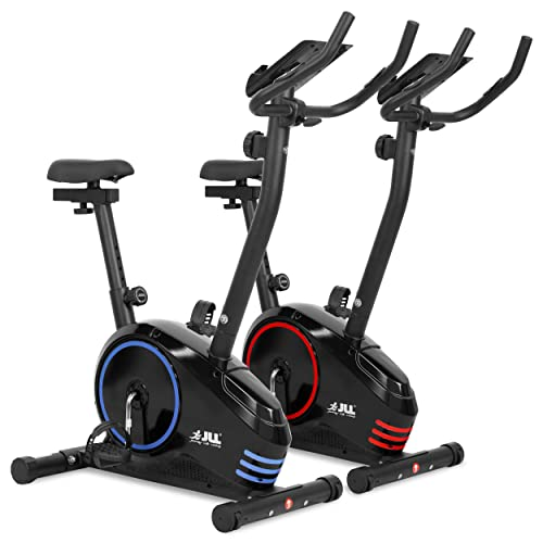JLL® Home Premium Exercise Bike JF150, 2018 New Version Magnetic Resistance Exercise Bike Fitness Cardio Workout with Adjustable Resistance, 5KG Two-Way Flywheel, Console Display with Tablet Holder, Heart Rate Sensor, Adjustable Handlebars and 7-level Seat Height Adjustments, 12 Months Warranty