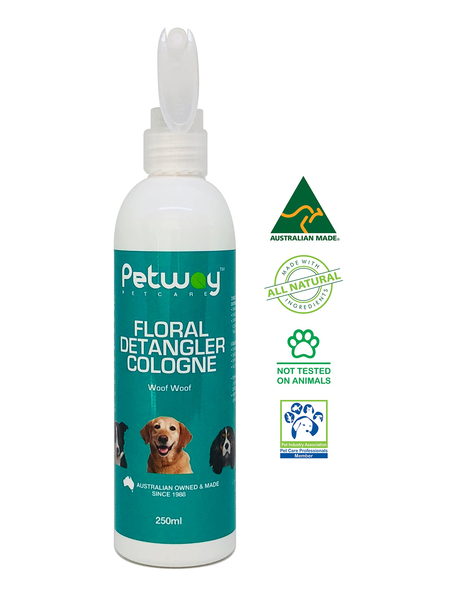 PETWAY Petcare Floral Detangler Cologne – Pet Cologne, Detangling and Dematting Spray with Deodorizing and Conditioning Qualities – Dog Grooming Detangler Conditioner Spray - 250ml by PETWAY (Image #1)