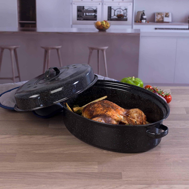 Large 38cm Vitreous Enamel Roasting Pan BBQ Roaster Cooking Pan