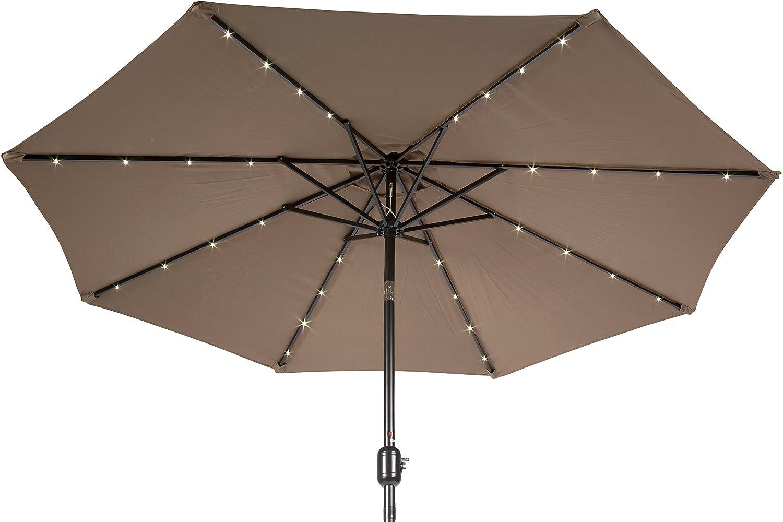 Amazon.com : Trademark Innovations Deluxe Solar Powered LED Lighted Patio  Umbrella, 9 Feet, Tan : Garden U0026 Outdoor