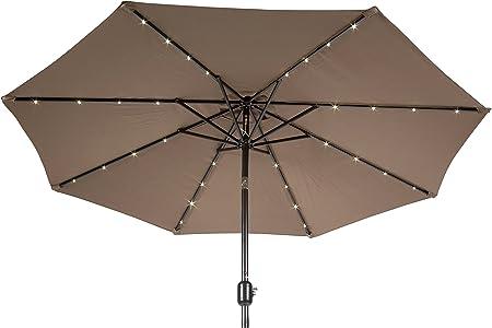 Trademark Innovations 7 FT. Solar LED Patio Umbrella Tan