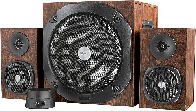 Trust Vigor 2 1 Holz Bluetooth Lautsprecherset Mit Subwoofer 100 Watt Braun Audio Hifi
