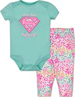 "Baby Supergirl Bodysuit and Leggings Outfit - Blue, ""Little Hero with a Big Heart"""