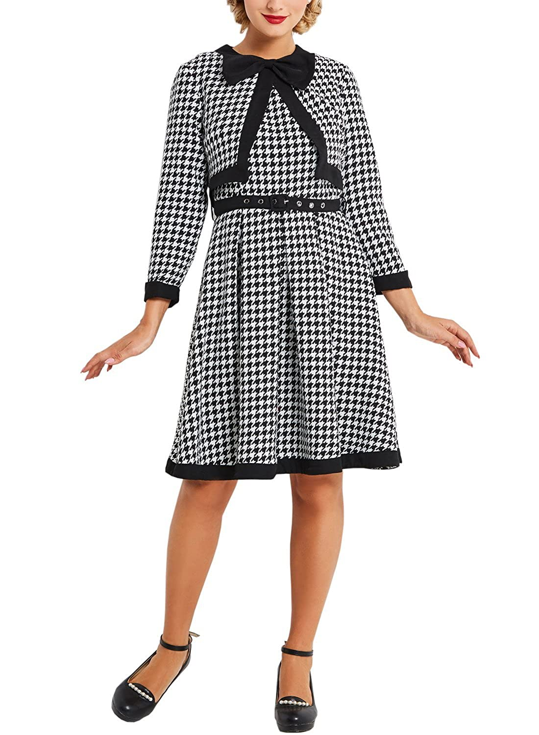 MERRYA Women's Vintage 1940s Houndstooth Knit Two Pieces Set Jacket Dress