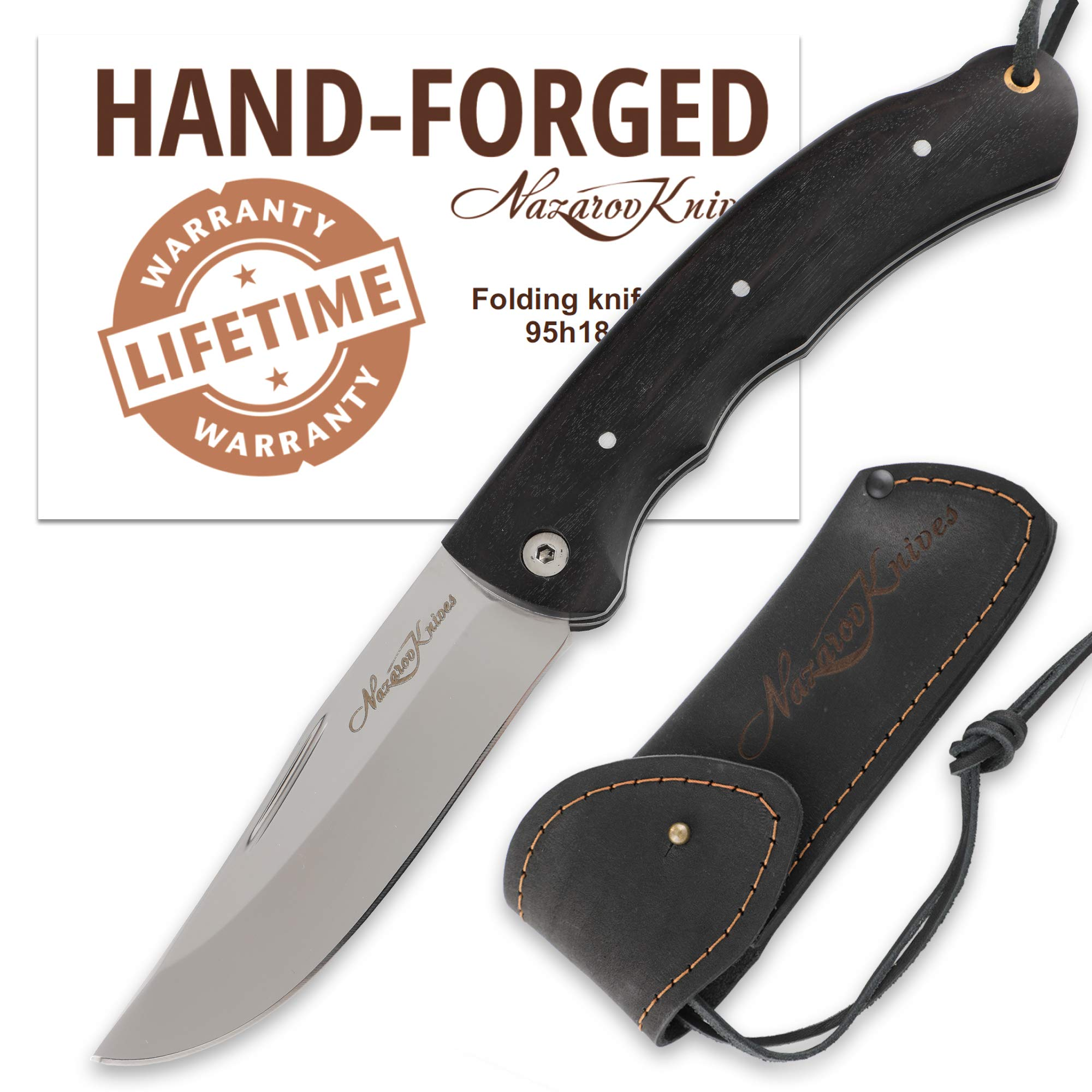 Pocket Knife - Pocket Utility Knife - High Carbon Stainless Steel - Hornbeam Handle - TAIGA - Leather Sheath