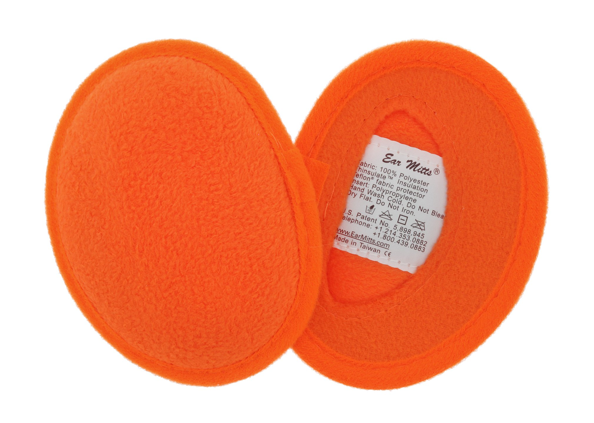 Ear Mitts Bandless Ear Muffs For Men, Safety Orange Fleece Ear Warmers, Regular