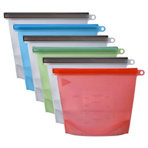 Reusable Silicone Food Bags For Preservation, Airtight Seal, 6 Pack, Silicone Versatile Cooking Bag for Refrigerator and Microwave, Food Storage and Keep Your Foods Fresh