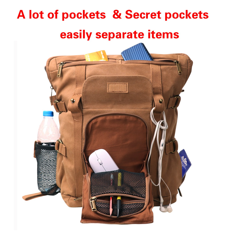 Leather Backpack for Men TOPWOLFS Canvas Backpack Vintage Rucksack fit 15.6 Laptop Anti-theft Pocket Multifunction Books School Travel Bag