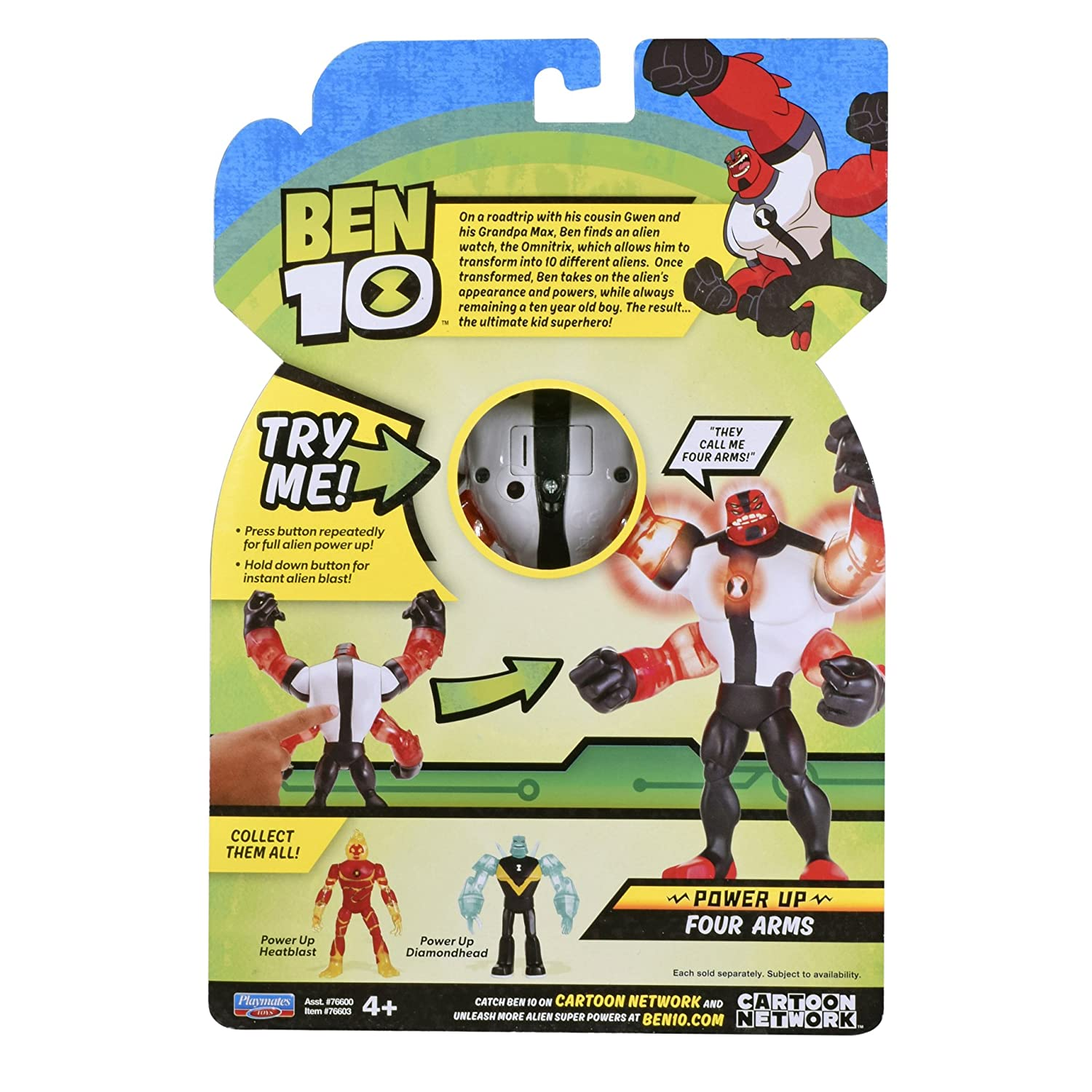 Ben 10 Power Up Four Arms Deluxe Action Figure Playmates Toys 76603