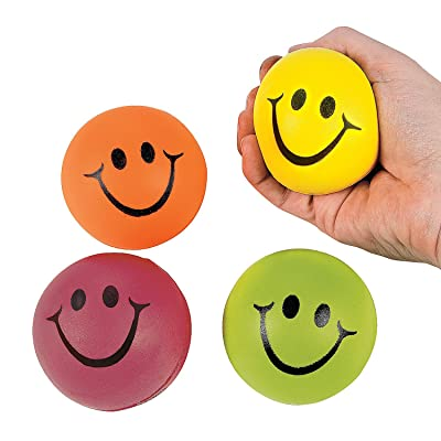 Mini Neon Smile Face Relaxable Balls (1 Dz) Assorted colors: Toys & Games