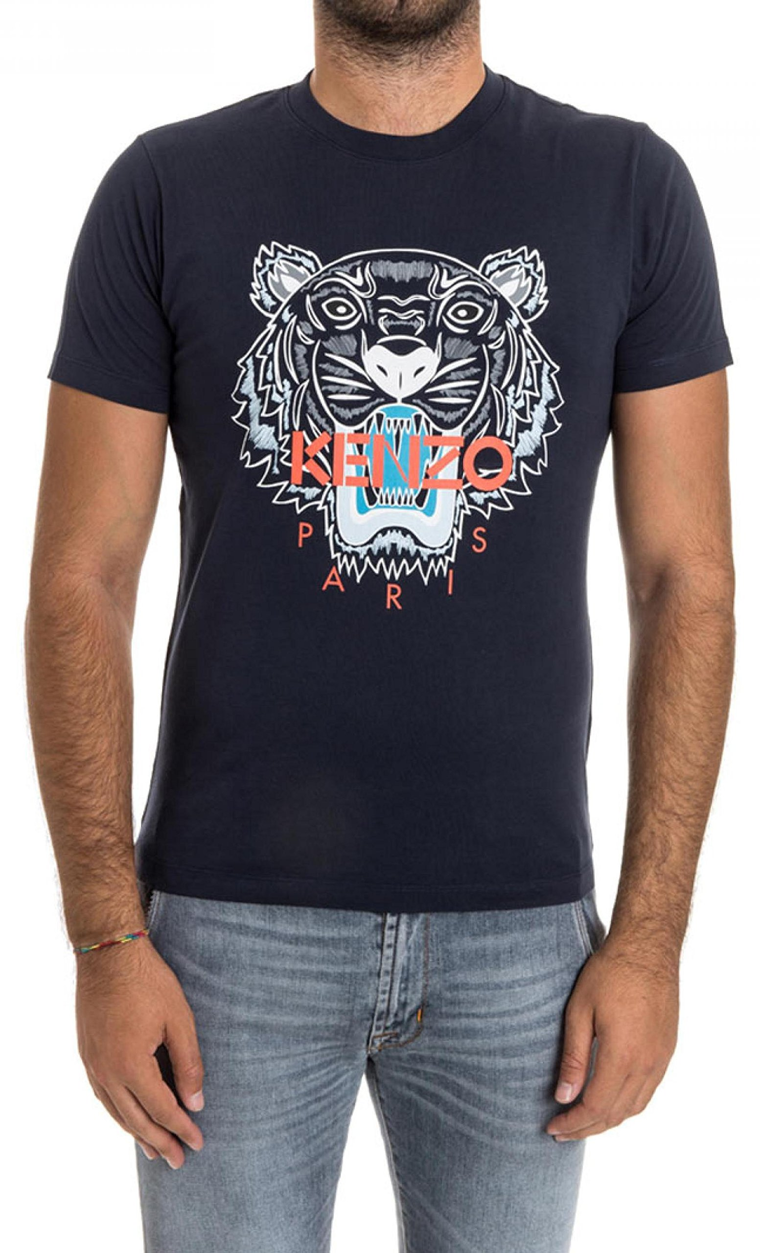 Kenzo Authentic Men's Ink Blue Tiger Head Paris Cotton Tshirt (X-Small)