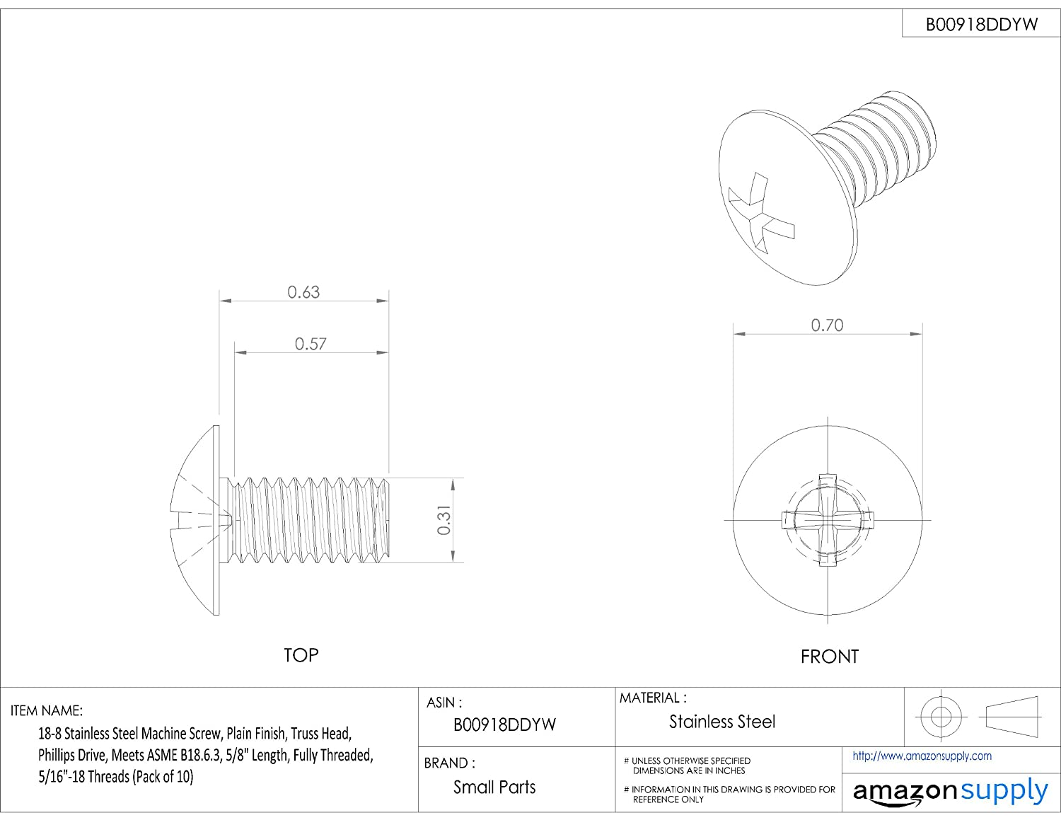 Small Parts Truss Head Pack of 10 3//8-16 UNC Threads Plain Finish Phillips Drive 18-8 Stainless Steel Machine Screw Pack of 10 3//4 Length Fully Threaded 3//4 Length 3//8-16 UNC Threads Meets ASME B18.6.3