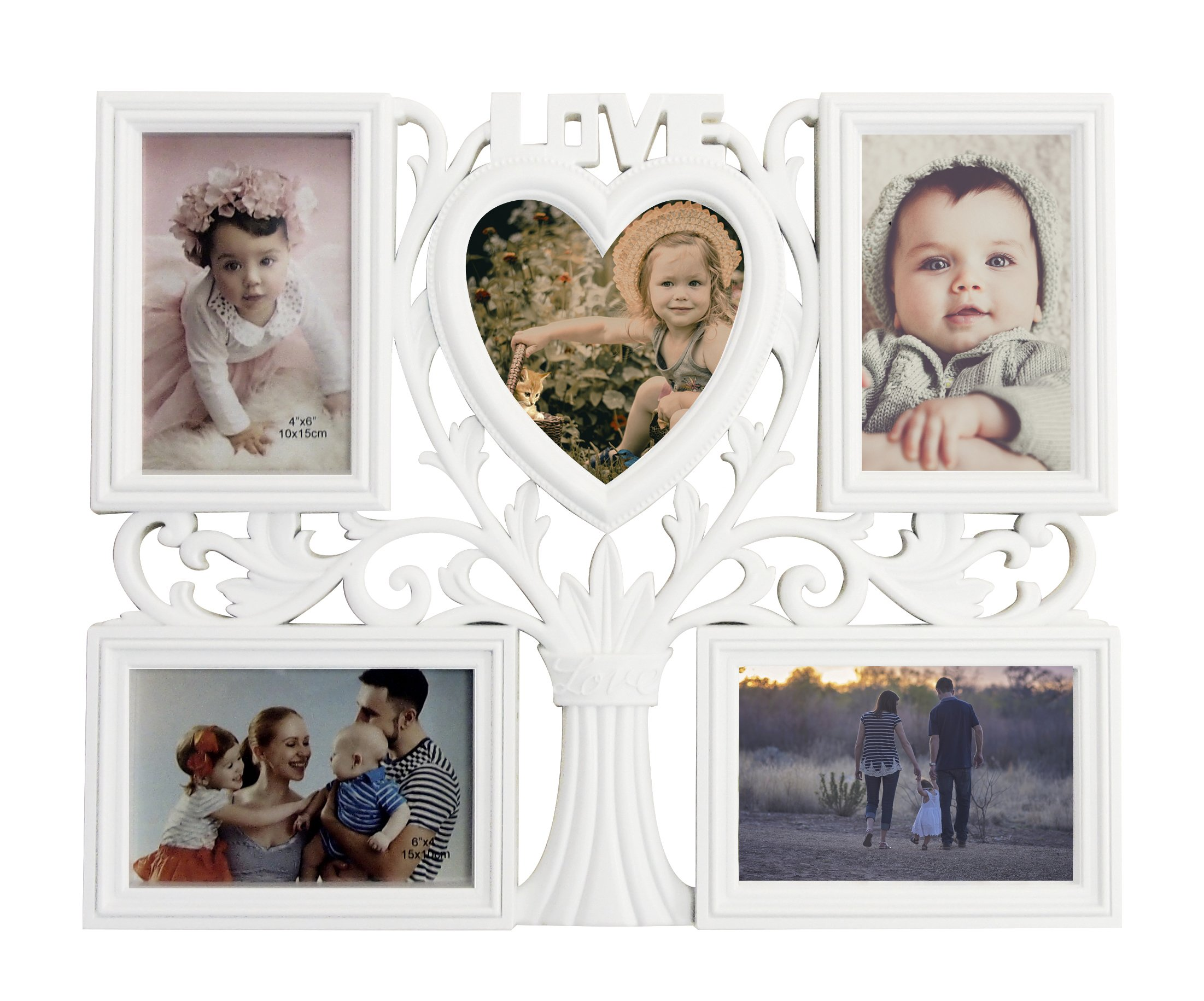Decorative Wall Hanging Love Tree Collage Picture Frame 5 Option 4-openings 4'' x 6'' & 1 opening 4'' x 4'', White