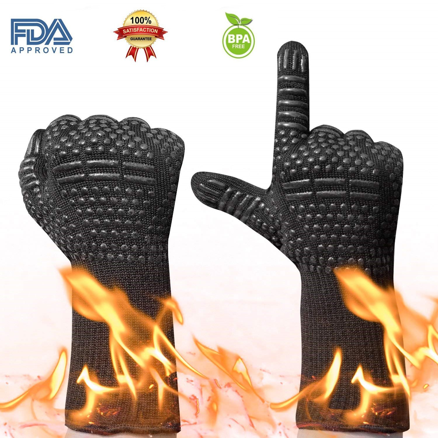 SengVan Oven Mitts Grill Gloves Extreme Heat Resistant with Fingers for Grilling, Cooking, Baking