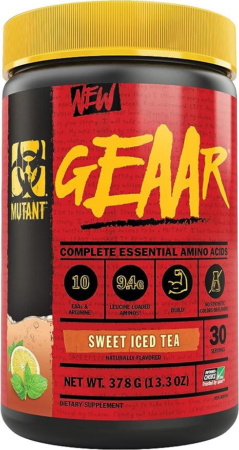 MUTANT GEAAR - 9.4g of EAA Powder + Arginine, 7g BCAAs, 4g Leucine, Electrolytes, Coconut Water, No Artificial Colors or Flavors, Delicious Taste - 30 Servings - Sweet Iced Tea - 378g