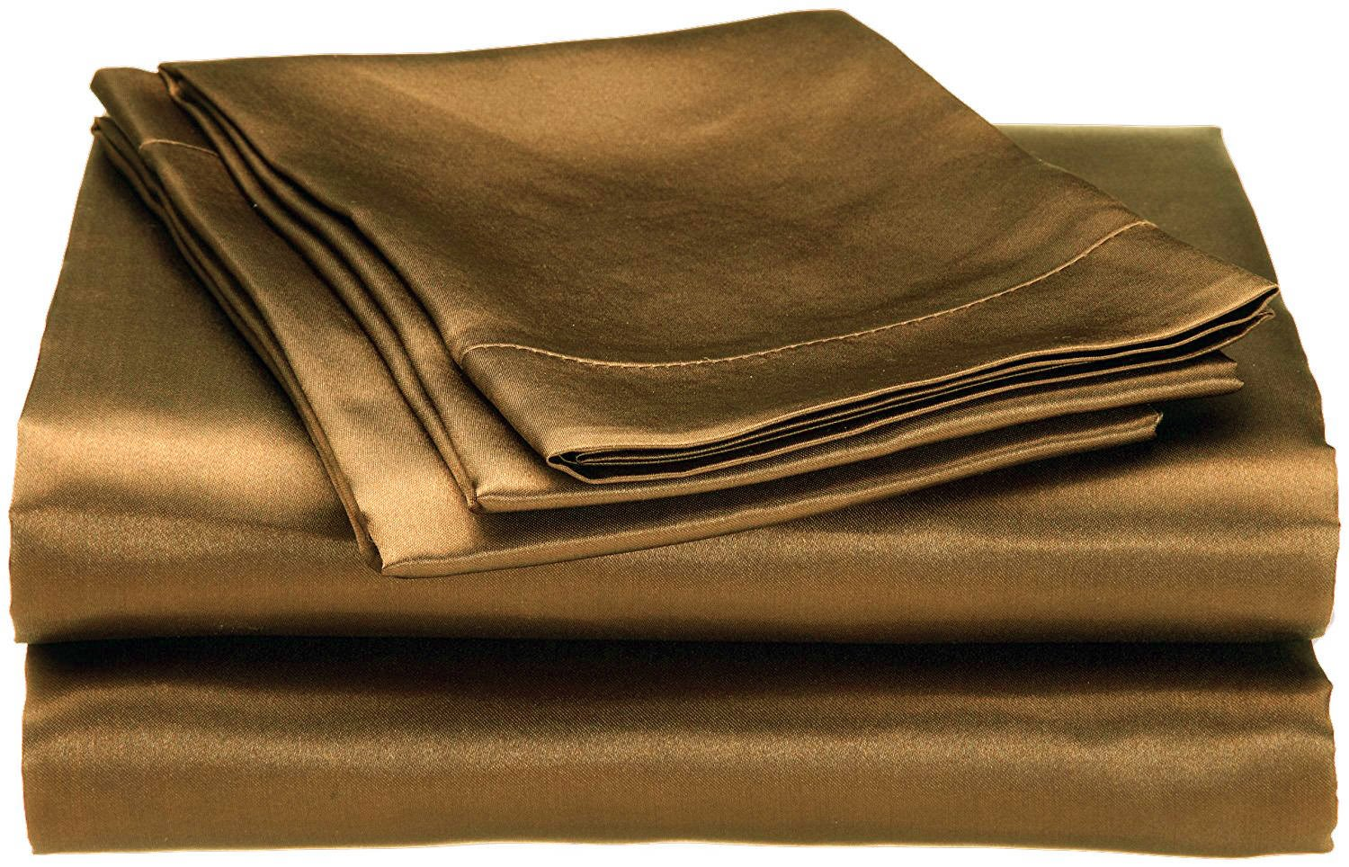 Cloud Fino Hotel Quality Silky Soft Luxurious Satin 4 Pc Sheet Set Wrinkle & Fade Resistant , Hypoallergenic Breathable Durable Comfort Bedding Set !!! Queen, Brown