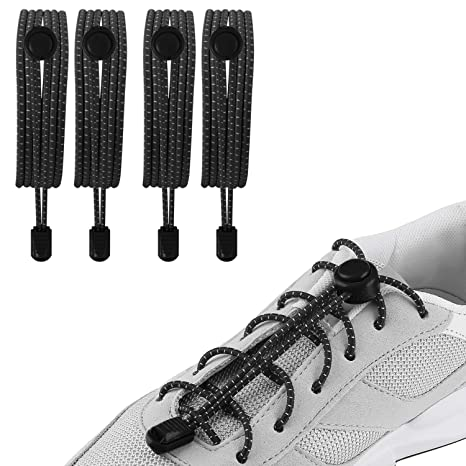 3 Pairs Reflective Elastic No Tie Locking Shoelaces Sports Outdoors Laces 47in