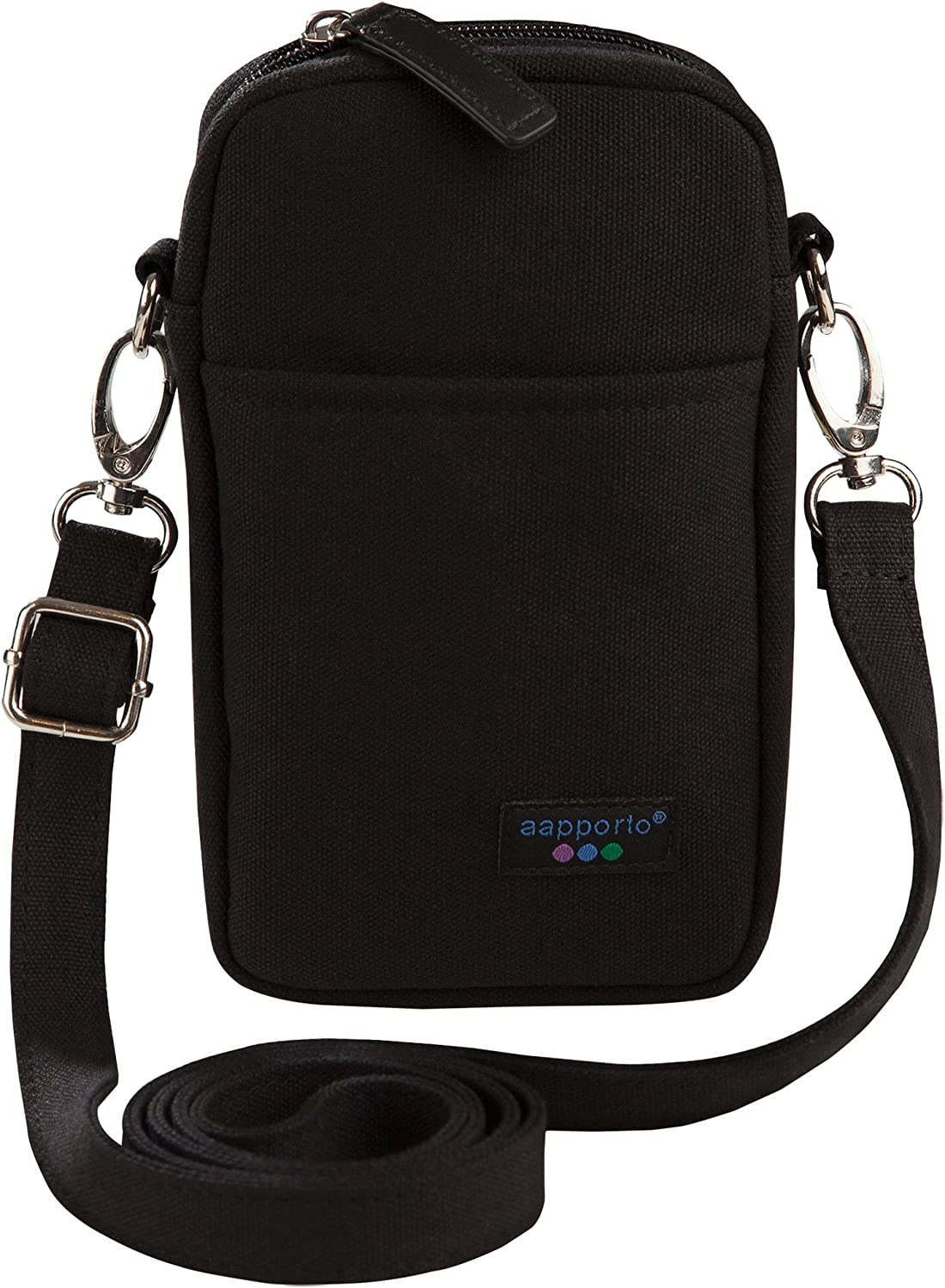 Aapporto Cellphone Purse Black Crossbody Shoulder Bag - for iPhone 11 Pro Max XR X XS 7 8 Plus Galaxy S10 S10+ S9 S8 Note10 - Strap Adjusts - Soft Case Pouch - Belt Attach - Zip Compartment for Cards