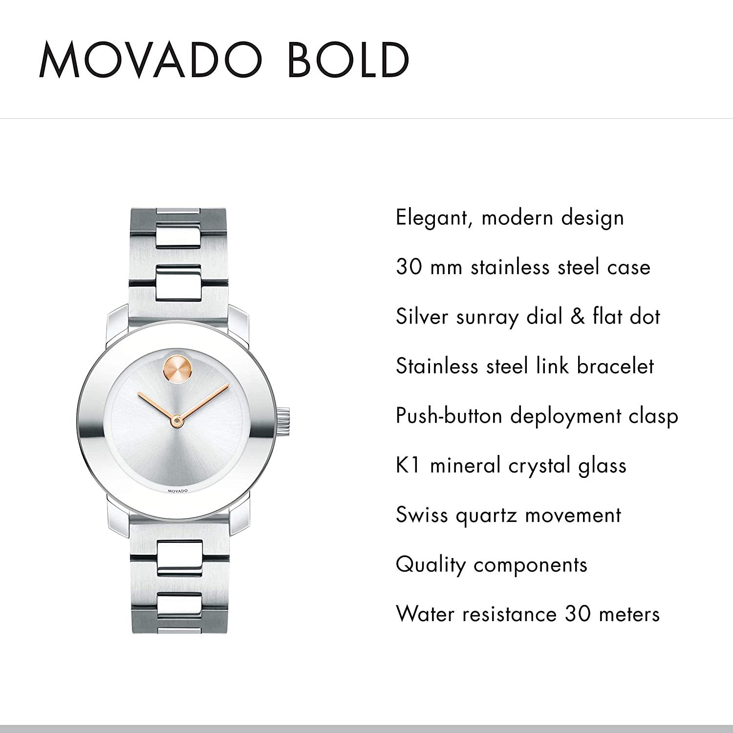 Movado Women s BOLD Iconic Metal Stainless Watch with a Flat Dot Sunray Dial, Silver Grey 3600433