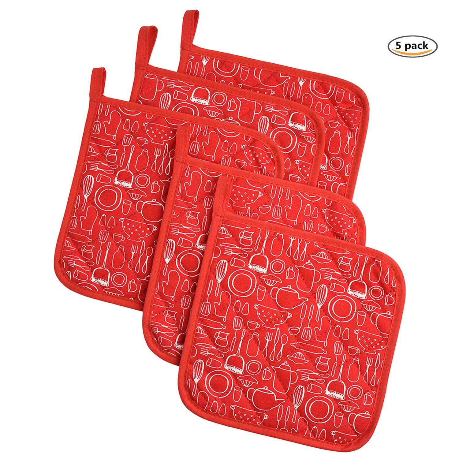 Potholders Trivets Kitchen Heat Resistant Cotton Coasters Hot Pads Pot Holders Set of 5 For Everyday Cooking And Baking by 8 x 8Inch (Red)