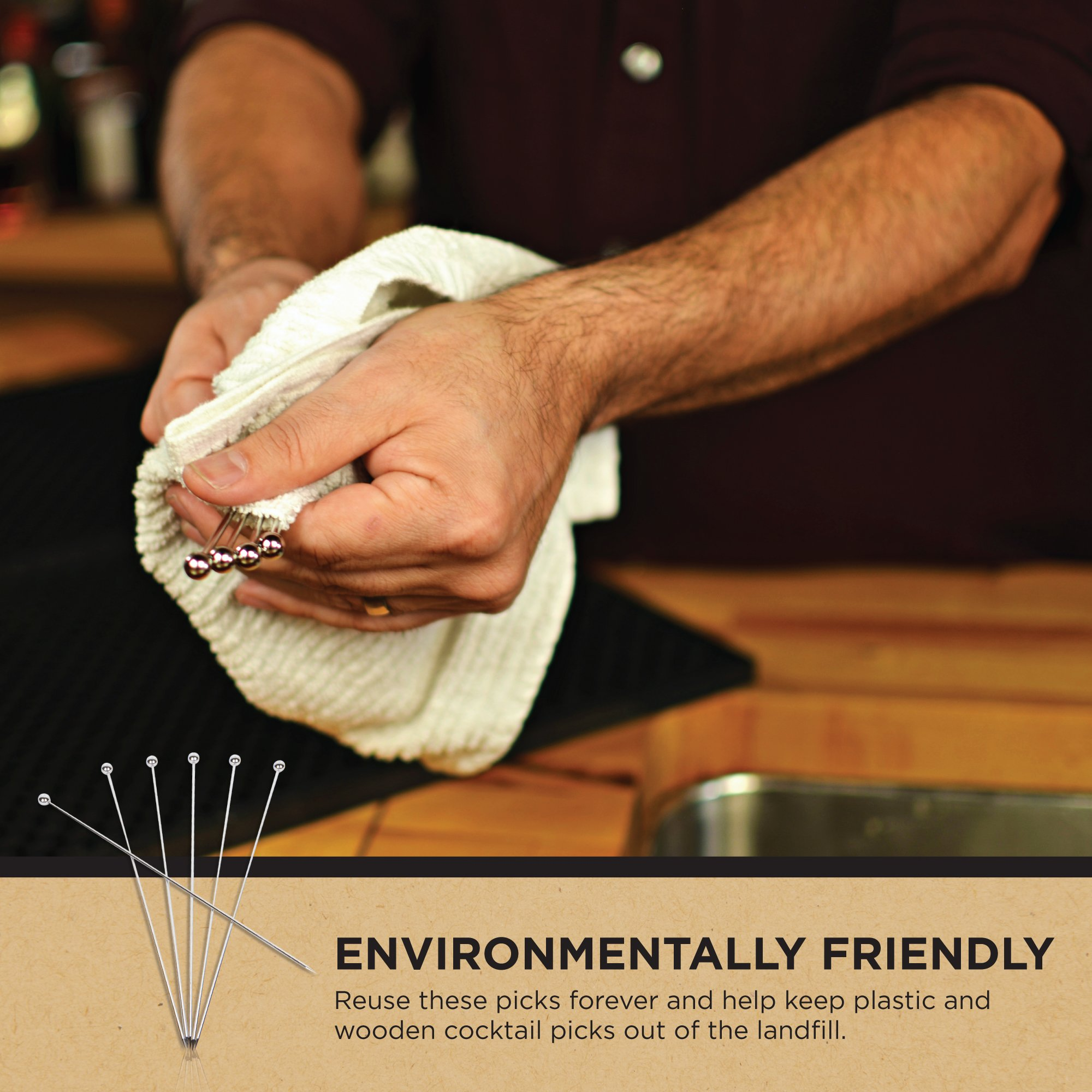 Stainless Steel Cocktail Picks - Extra long 8'' (Set of 12) by Top Shelf Bar Supply (Image #9)