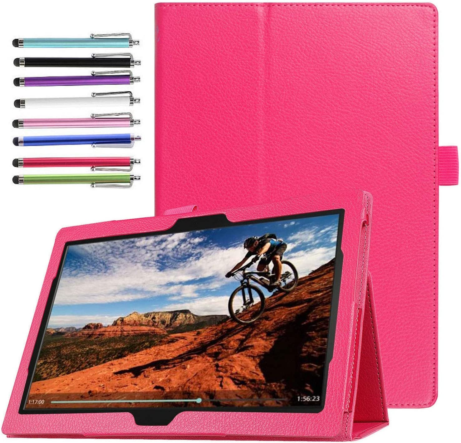 Epicgadget Case for Lenovo Smart Tab M10 TB-X505F/TB-X605F Slim Lightweight Folio PU Leather Folding Stand Cover Case for Lenovo Table M10 10.1 Inch Display 2019/2018 Released (Pink)