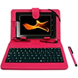 DURAGADGET BTC Flame 7 Inch Tablet Case - Deluxe QWERTY Keyboard Folio Case in Pink for BTC Flame Tablet PC - with Micro USB Connection, Built-In Stand + BONUS Stylus!