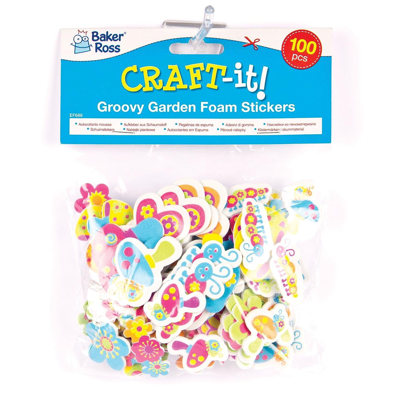 """Coole Moosgummi-Aufkleber """"Garten"""" - Sticker Set zum Basteln für Kinder und als Dekoration ideal für Karten (100 Stück) Baker Ross"""